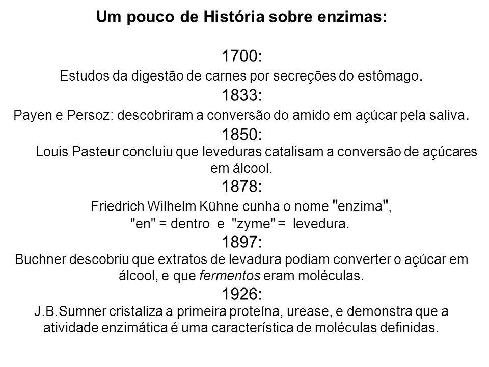 Um pouco de História sobre enzimas: 1700: Estudos da digestão de carnes por secreções do estômago. 1833: Payen e Persoz: descobriram a conversão do am