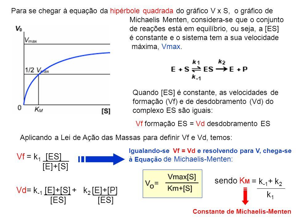 Para se chegar à equação da hipérbole quadrada do gráfico V x S, o gráfico de Michaelis Menten, considera-se que o conjunto de reações está em equilíb