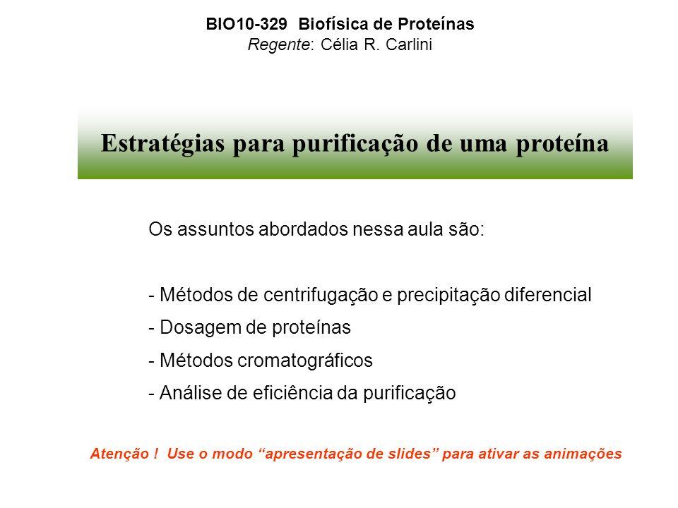Estratégias para purificação de uma proteína Os assuntos abordados nessa aula são: - Métodos de centrifugação e precipitação diferencial - Dosagem de
