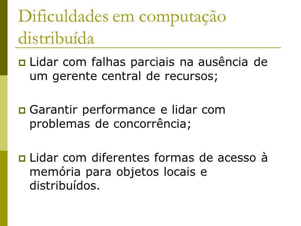 Dificuldades em computação distribuída Lidar com falhas parciais na ausência de um gerente central de recursos; Garantir performance e lidar com probl