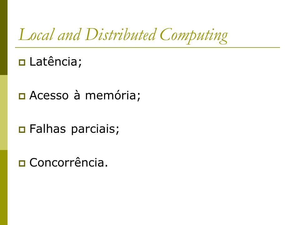 Local and Distributed Computing Latência; Acesso à memória; Falhas parciais; Concorrência.