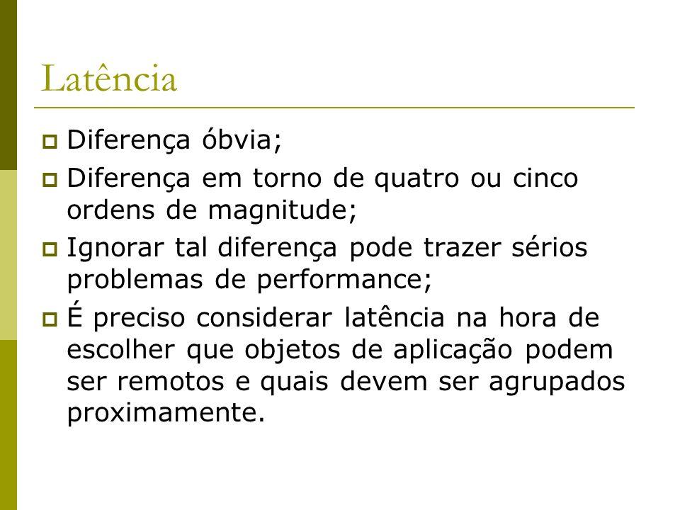 Latência Diferença óbvia; Diferença em torno de quatro ou cinco ordens de magnitude; Ignorar tal diferença pode trazer sérios problemas de performance