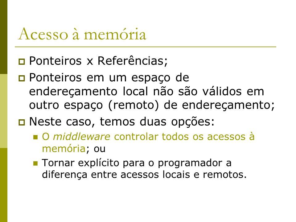 Acesso à memória Ponteiros x Referências; Ponteiros em um espaço de endereçamento local não são válidos em outro espaço (remoto) de endereçamento; Nes