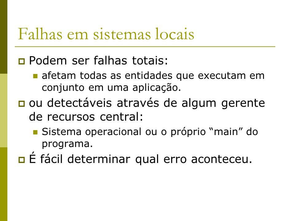 Falhas em sistemas locais Podem ser falhas totais: afetam todas as entidades que executam em conjunto em uma aplicação. ou detectáveis através de algu