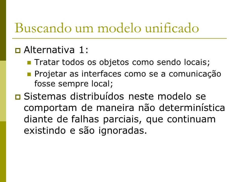 Buscando um modelo unificado Alternativa 1: Tratar todos os objetos como sendo locais; Projetar as interfaces como se a comunicação fosse sempre local