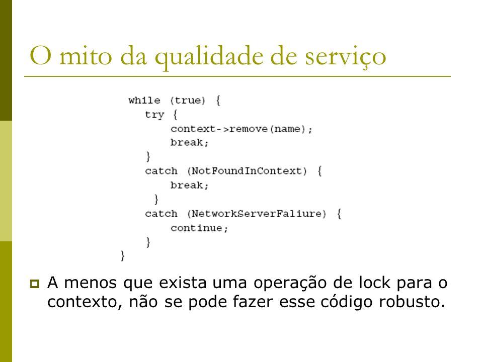 O mito da qualidade de serviço A menos que exista uma operação de lock para o contexto, não se pode fazer esse código robusto.