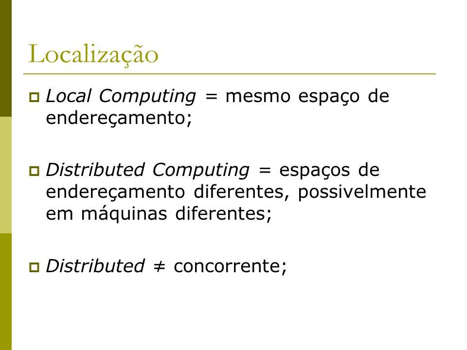 Localização Local Computing = mesmo espaço de endereçamento; Distributed Computing = espaços de endereçamento diferentes, possivelmente em máquinas di