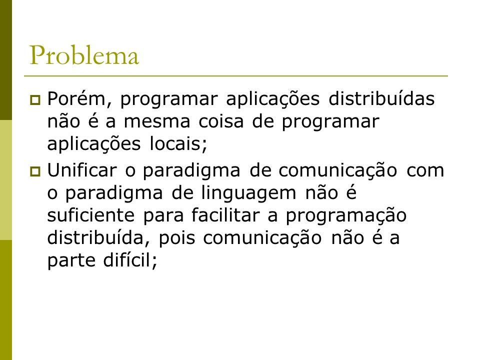 Problema Porém, programar aplicações distribuídas não é a mesma coisa de programar aplicações locais; Unificar o paradigma de comunicação com o paradi