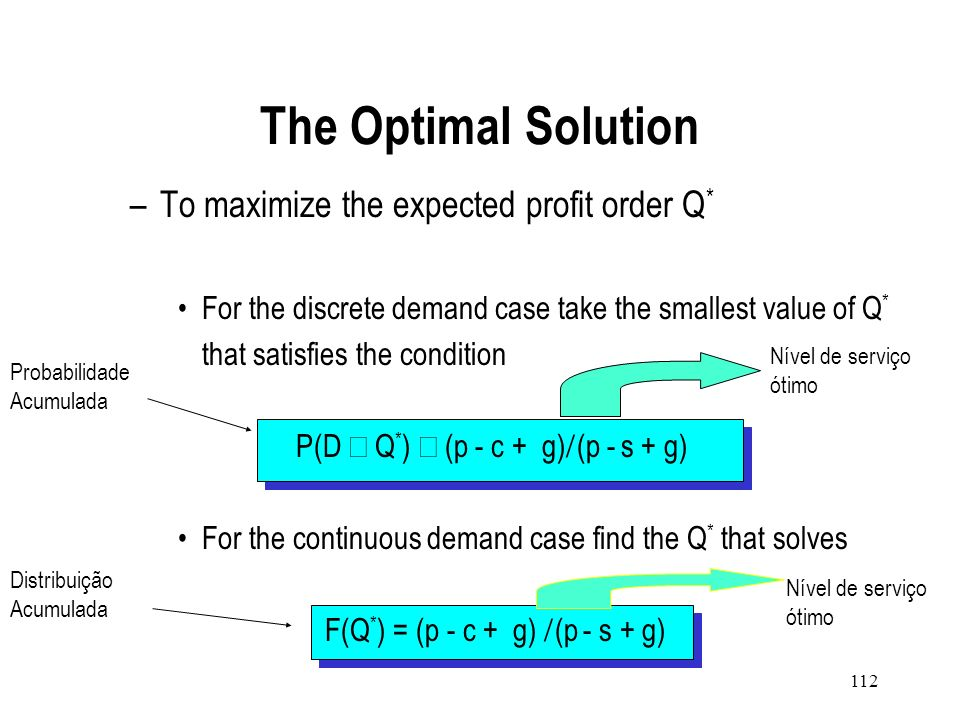 111 Scenario 1: Demand X is less than the units stocked, Q. Scenario 2: Demand X is greater than or equal to the units stocked. Profit = pX + s(Q - X)