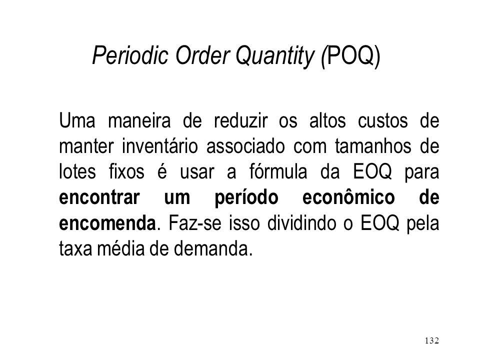 131 Economic Order Quantity (EOQ ) Consiste no principio de que sempre que seja necessário fazer uma encomenda, encomendar uma quantidade igual à EOQ.