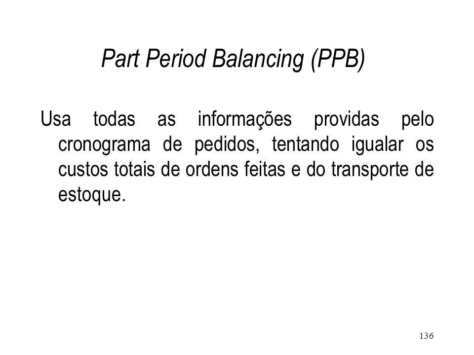 135 Fixed Period Requirements (FPR) Ordena-se uma quantidade suficiente para suprir a demanda de um número fixo de períodos consecutivos.
