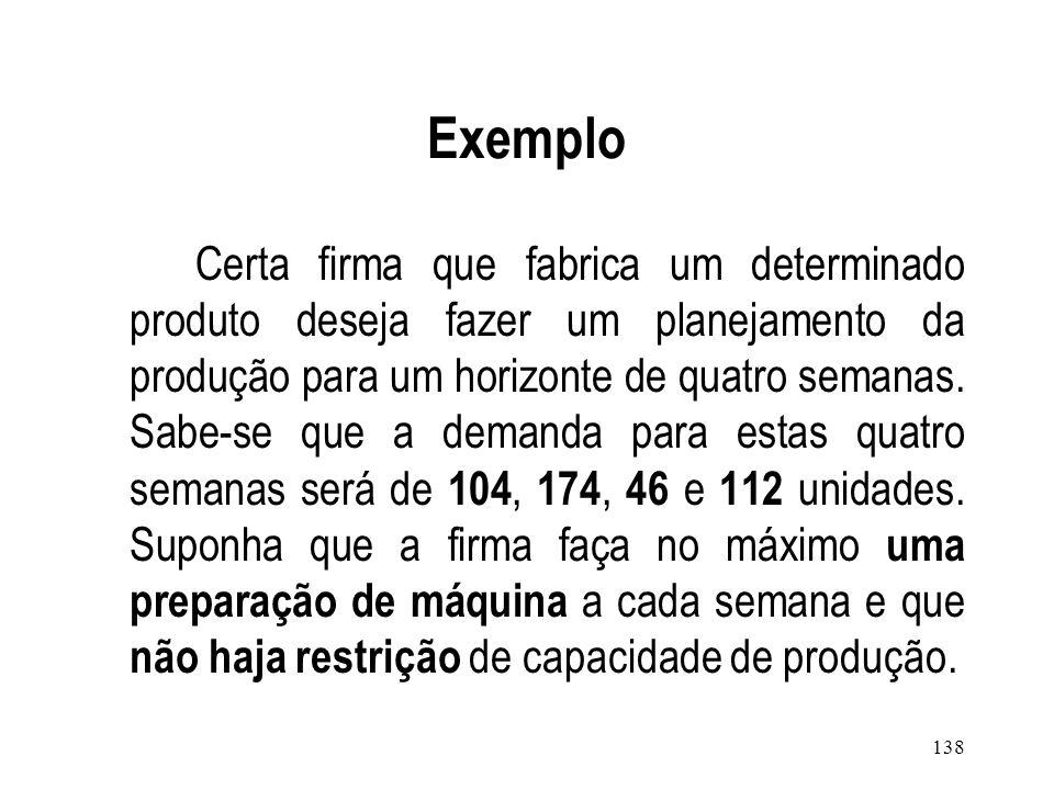 137 Wagner-Whitin Algorithm (WW) Procedimento de programação dinâmica para obter o cronograma ótimo de dimensionamento de lotes no horizonte de planej