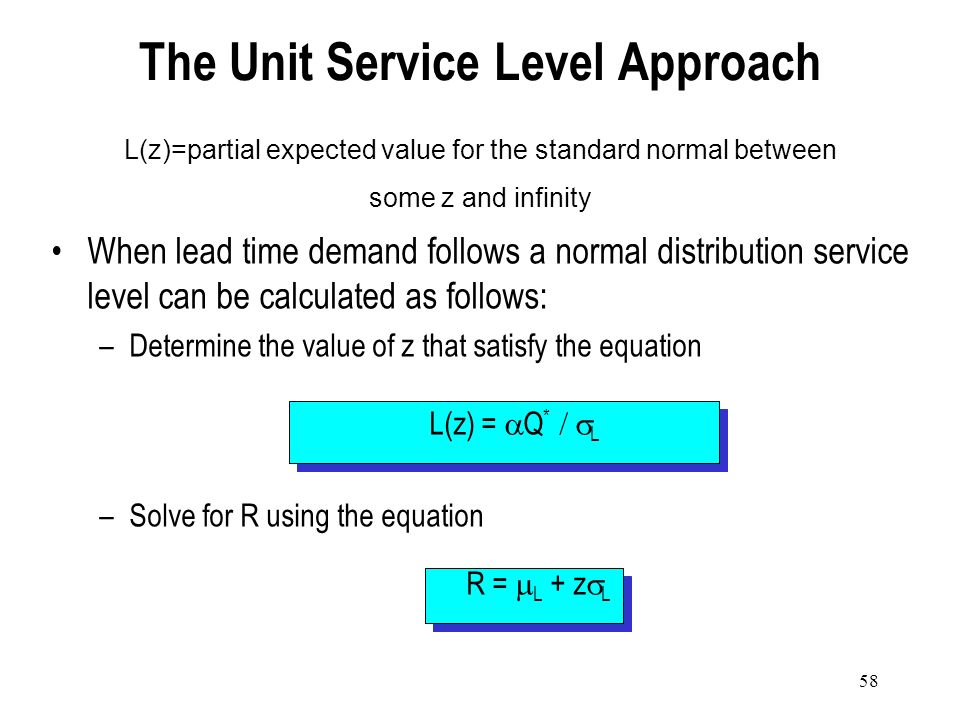 57 AAC – Acceptable Number of Stockouts per Year There will be an average of 6240 327 = 19.08 cycles (lead times) per year. The likelihood of stockout