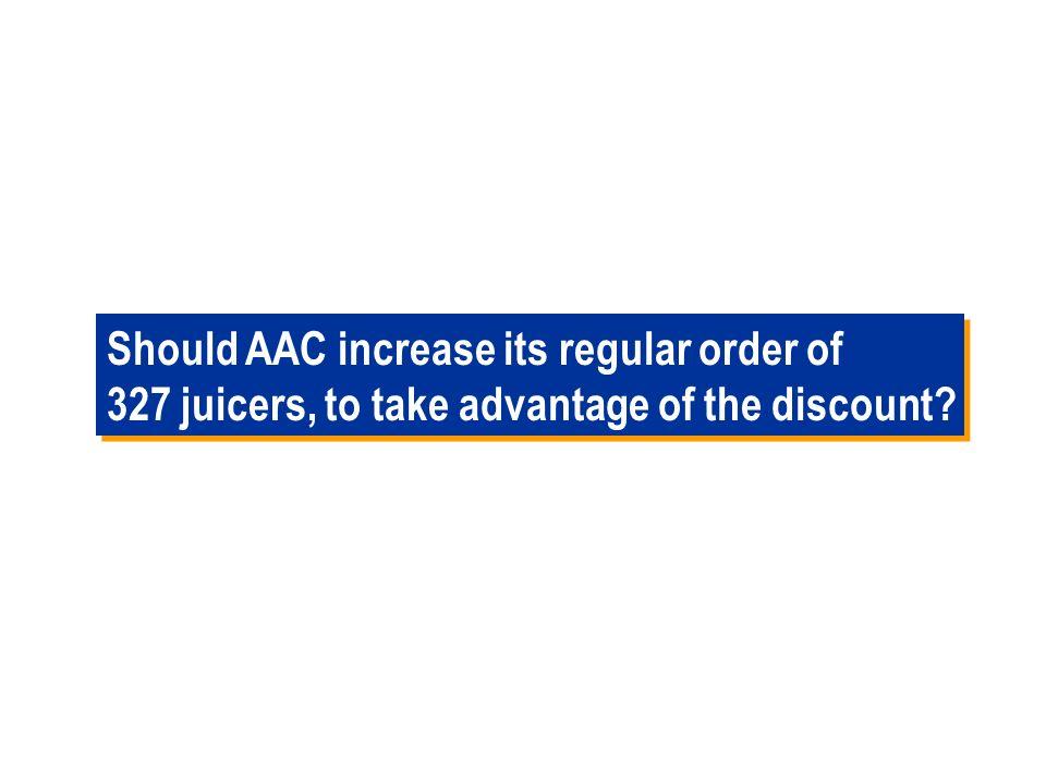 63 AAC - All Units Quantity Discounts AAC is offering all units quantity discounts to its customers. Data