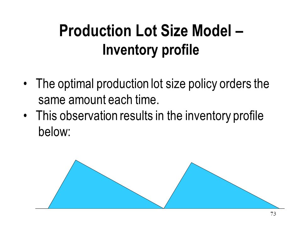 72 Demand rate is constant. Production rate is larger than demand rate. The production lot is not received instantaneously (at an infinite rate), beca