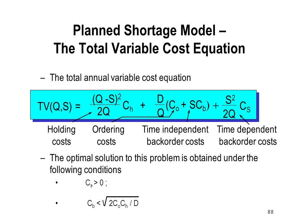 87 Annual holding cost: C h [T 1 T](Q-S) 2 = C h [(Q-S) Q](Q-S) 2 = C h (Q-S) 2 2Q Annual shortage cost: C b (Units in short per year) + C s [T 2 T](A