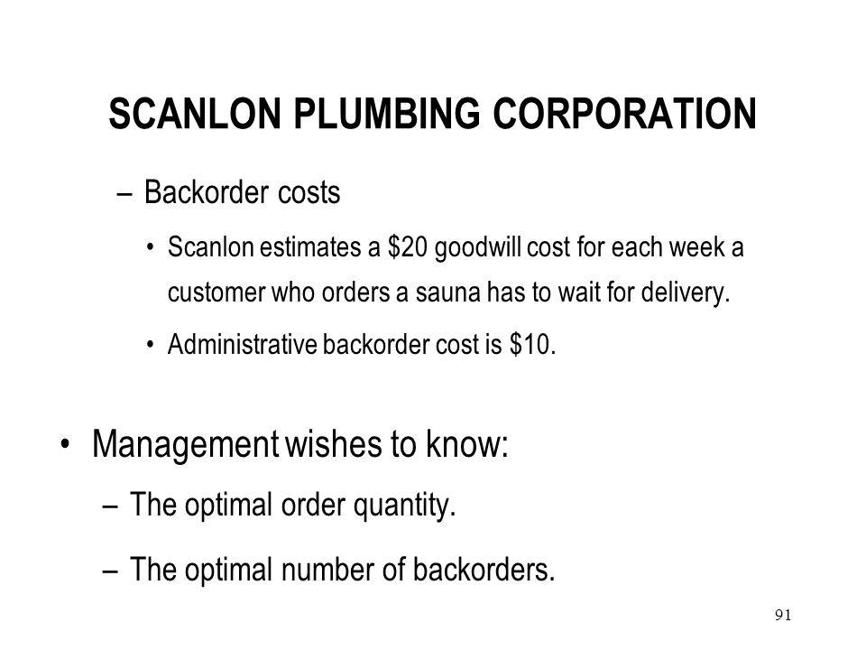 90 SCANLON PLUMBING CORPORATION Scanlon distributes a portable sauna from Sweden. Data –A sauna costs Scanlon $2400. –Annual holding cost per unit $52