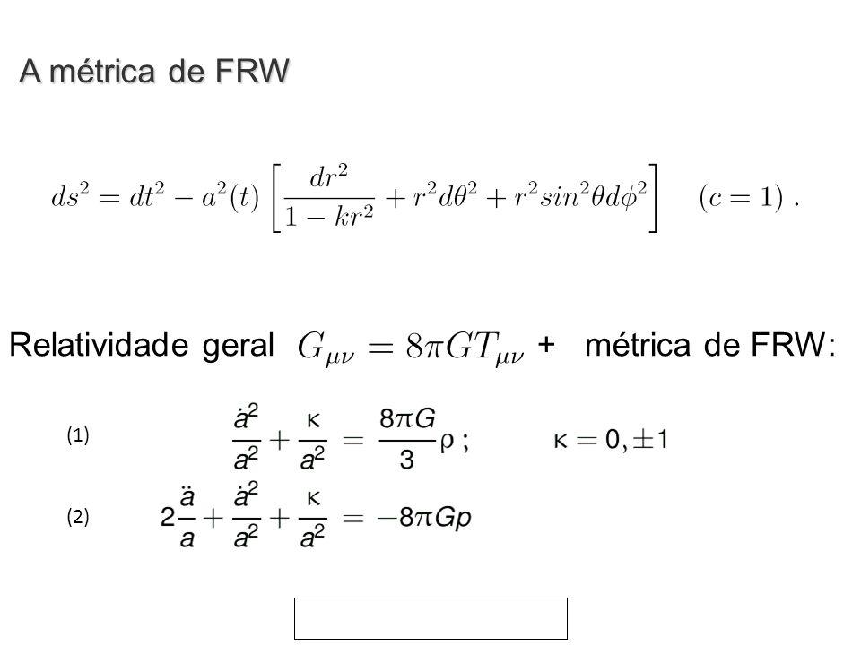 Relatividade geral + métrica de FRW: (1) (2) A métrica de FRW