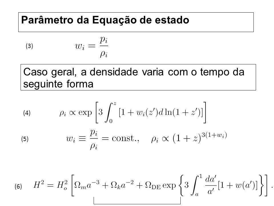 Parâmetro da Equação de estado Caso geral, a densidade varia com o tempo da seguinte forma (5) (4) (3) (6)
