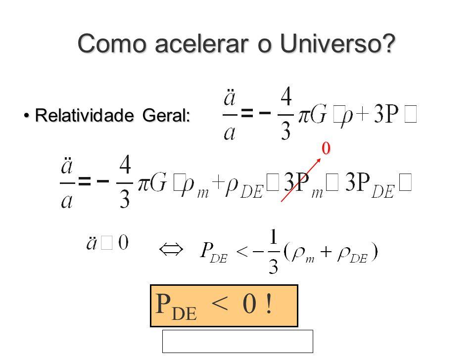 Como acelerar o Universo? Relatividade Geral: Relatividade Geral: P DE < 0 ! 0