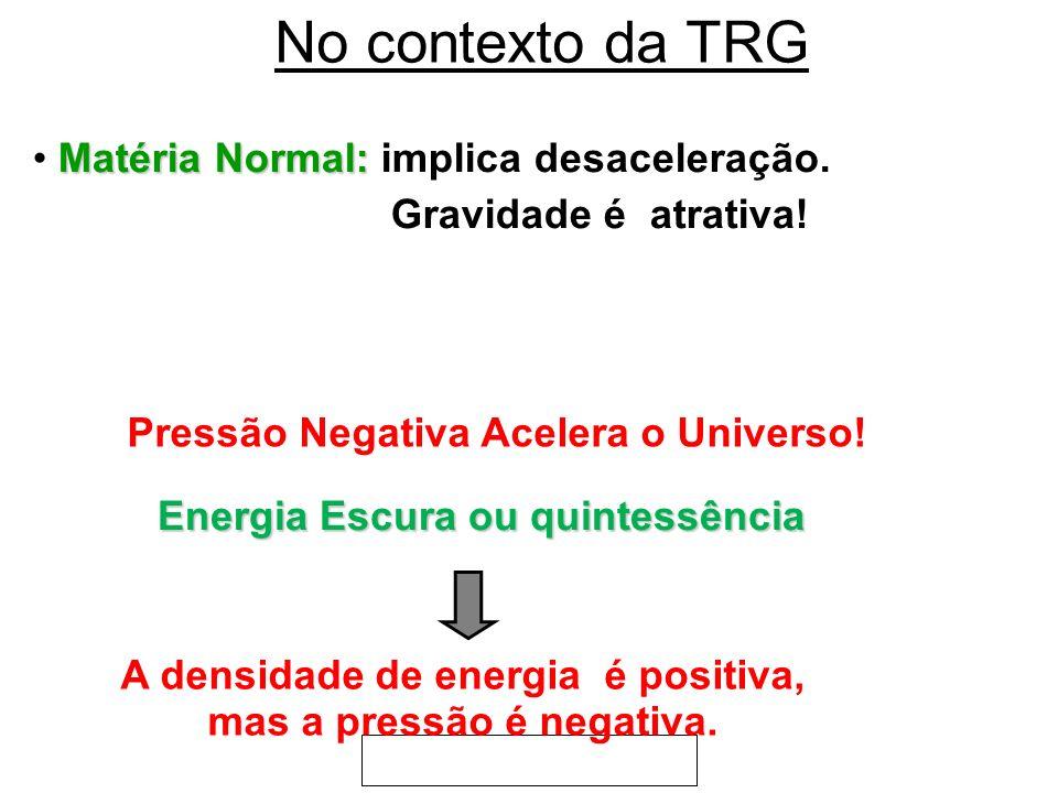 No contexto da TRG Matéria Normal: Matéria Normal: implica desaceleração. Gravidade é atrativa! Pressão Negativa Acelera o Universo! Energia Escura ou