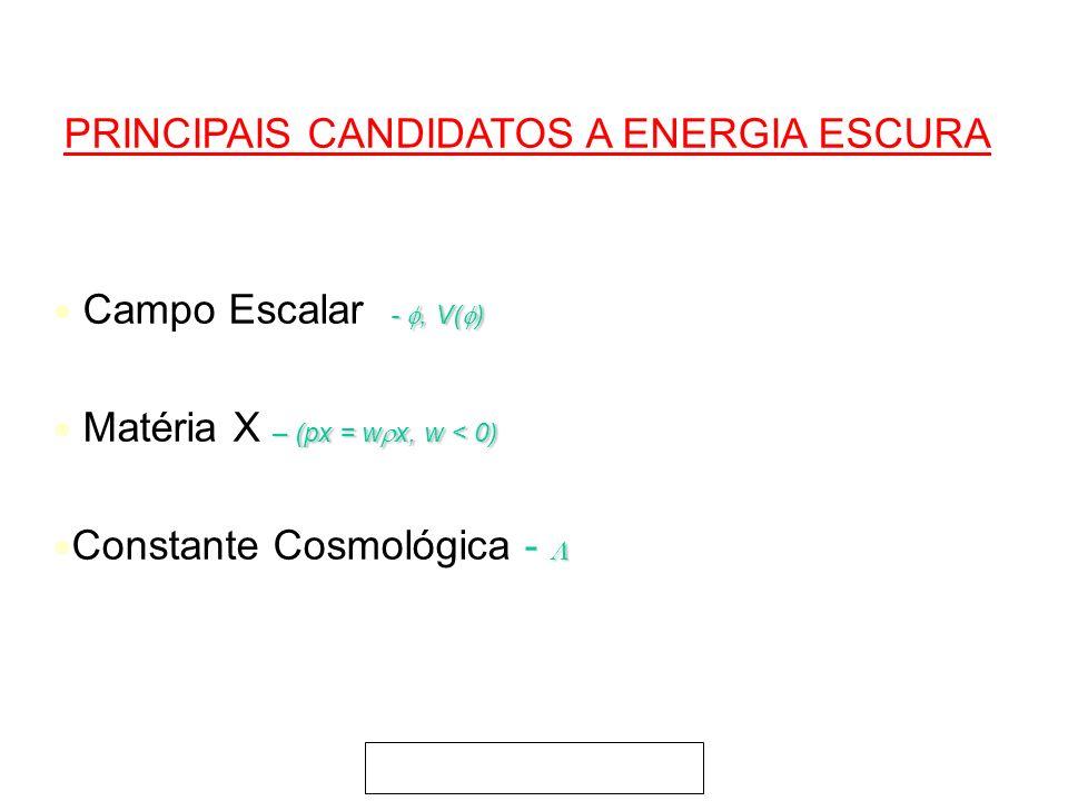 PRINCIPAIS CANDIDATOS A ENERGIA ESCURA -, V( ) Campo Escalar -, V( ) – (px = w x, w < 0) Matéria X – (px = w x, w < 0) Constante Cosmológica -