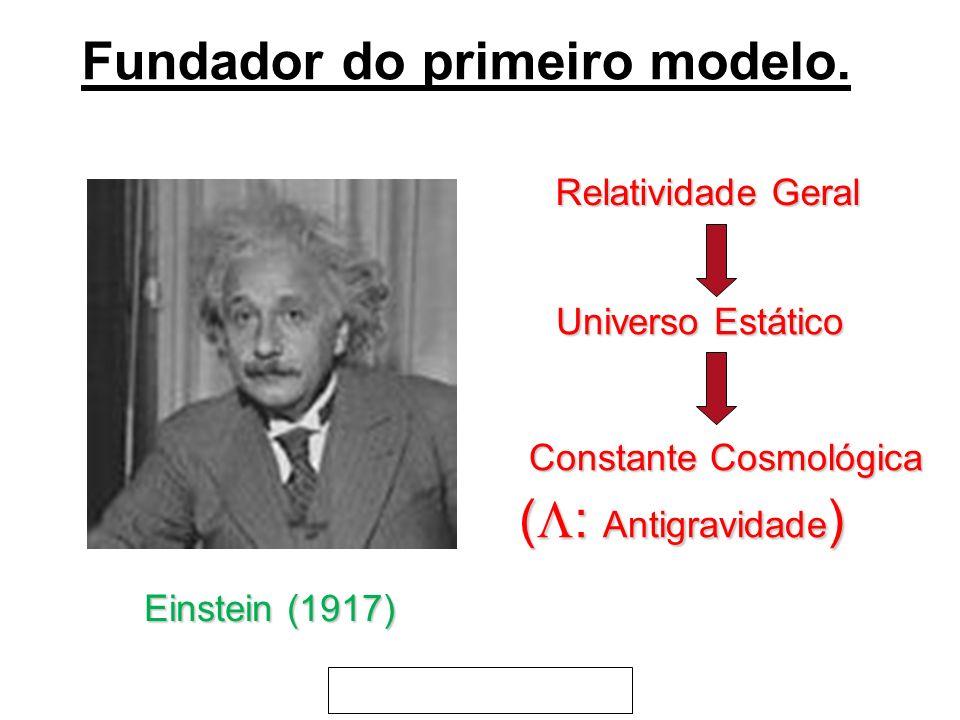 Einstein (1917) Relatividade Geral Universo Estático Constante Cosmológica Constante Cosmológica ( : Antigravidade ) Fundador do primeiro modelo.