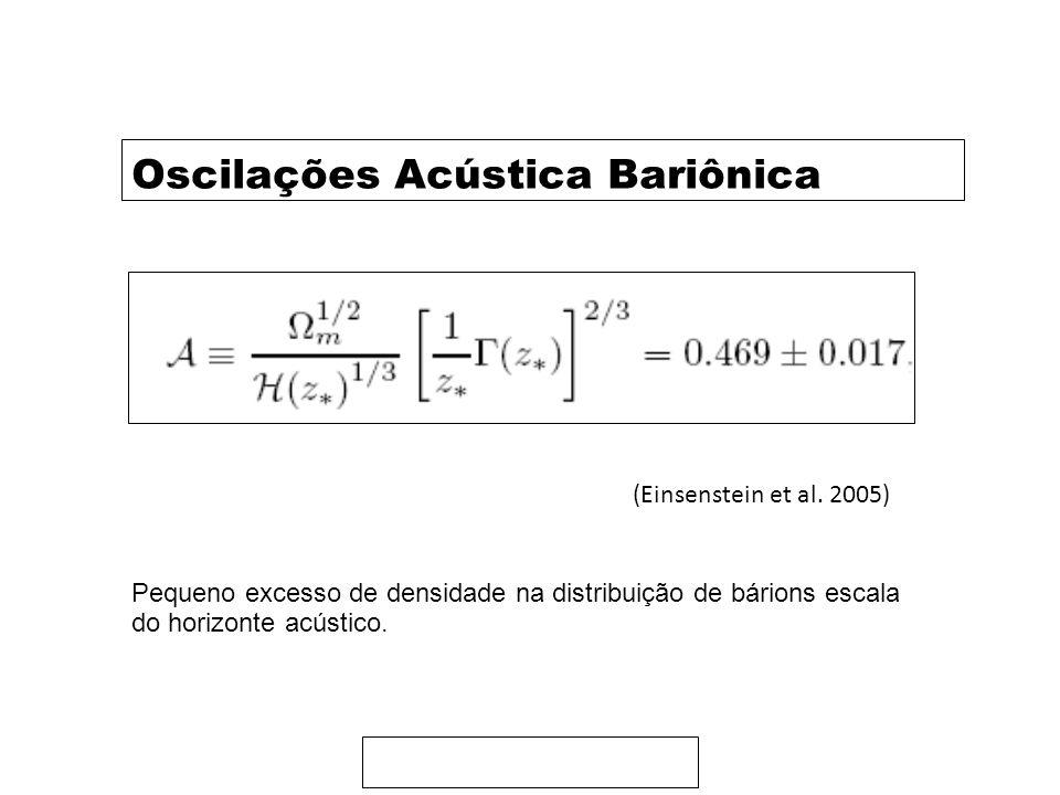 Oscilações Acústica Bariônica (Einsenstein et al. 2005) Pequeno excesso de densidade na distribuição de bárions escala do horizonte acústico.