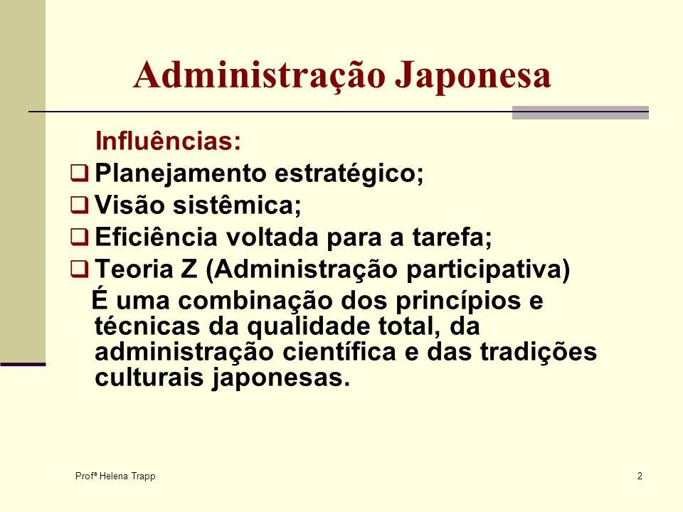 Profª Helena Trapp 2 Administração Japonesa Influências: Planejamento estratégico; Visão sistêmica; Eficiência voltada para a tarefa; Teoria Z (Admini