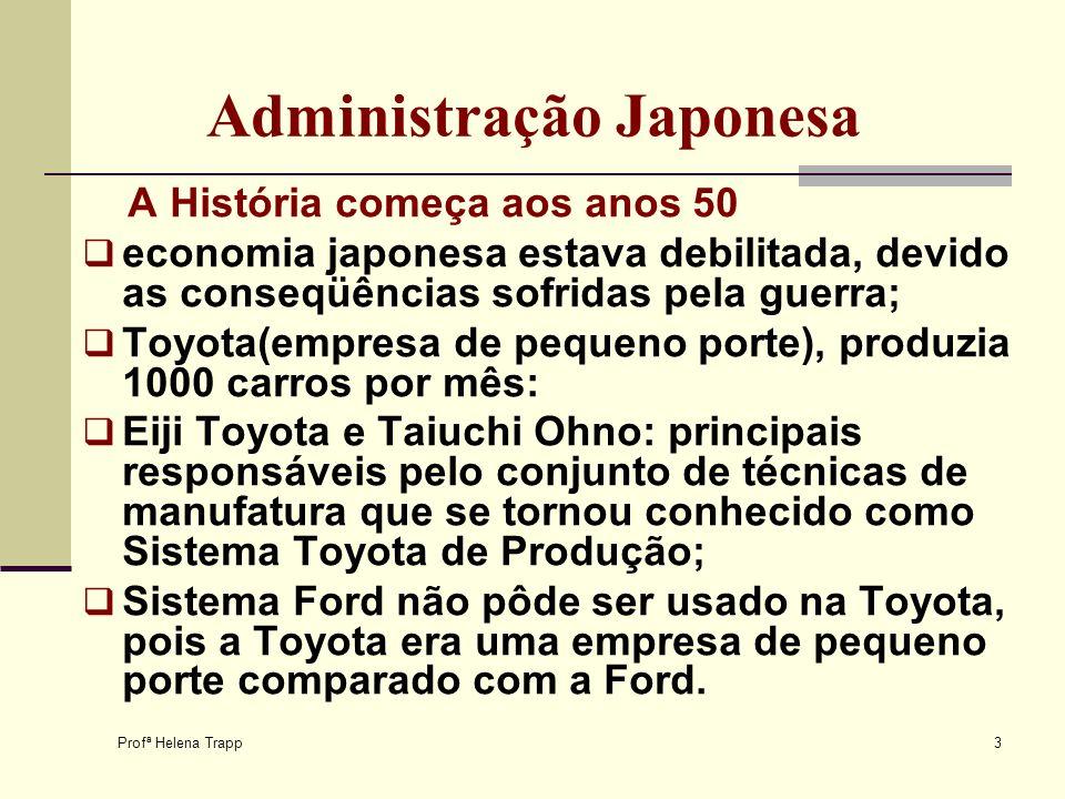Profª Helena Trapp 3 Administração Japonesa A História começa aos anos 50 economia japonesa estava debilitada, devido as conseqüências sofridas pela g
