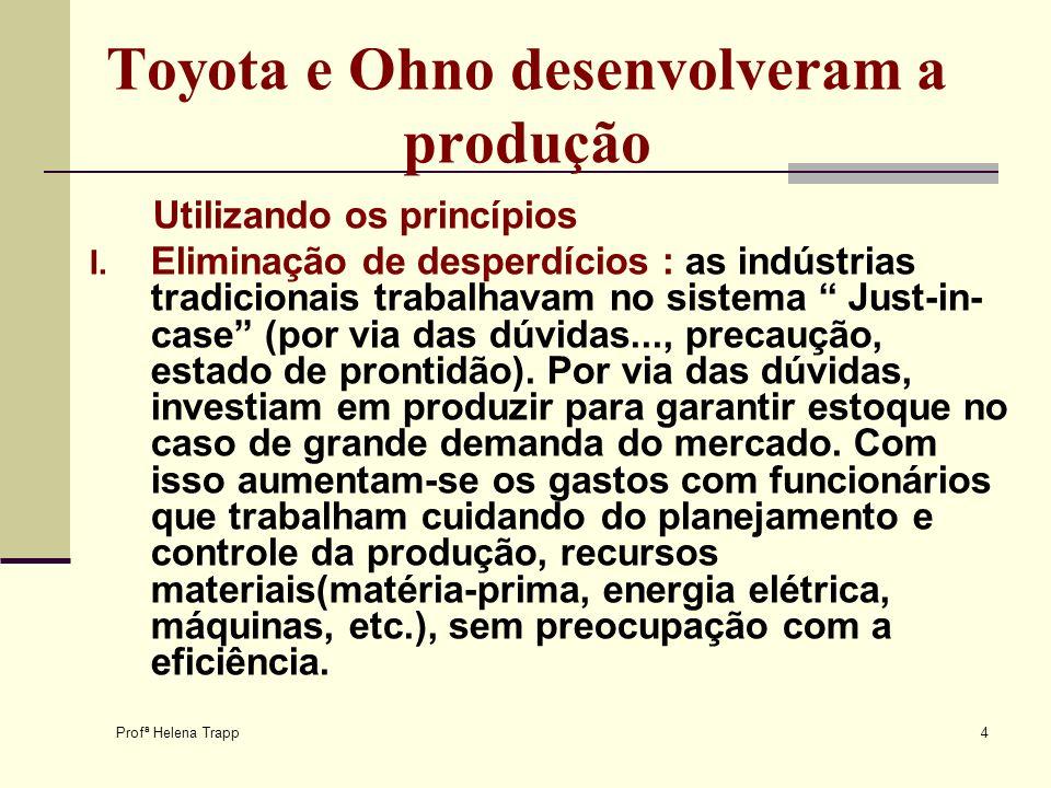 Profª Helena Trapp 4 Toyota e Ohno desenvolveram a produção Utilizando os princípios I. Eliminação de desperdícios : as indústrias tradicionais trabal
