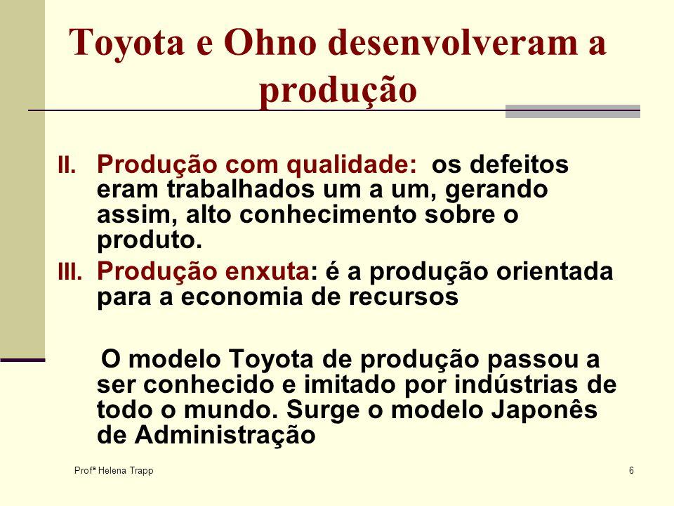 Profª Helena Trapp 6 Toyota e Ohno desenvolveram a produção II. Produção com qualidade: os defeitos eram trabalhados um a um, gerando assim, alto conh