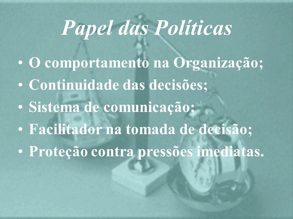 Papel das Políticas O comportamento na Organização; Continuidade das decisões; Sistema de comunicação; Facilitador na tomada de decisão; Proteção cont