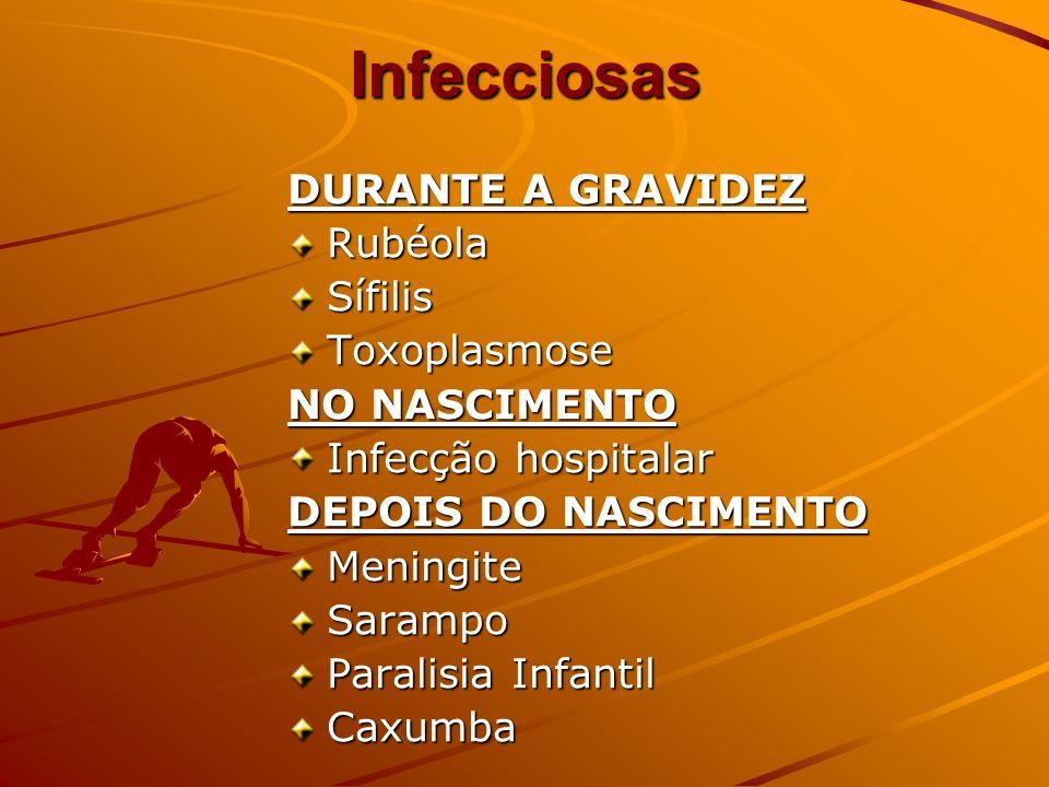 Infecciosas DURANTE A GRAVIDEZ RubéolaSífilisToxoplasmose NO NASCIMENTO Infecção hospitalar DEPOIS DO NASCIMENTO MeningiteSarampo Paralisia Infantil C