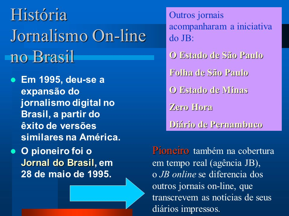 História Jornalismo On-line The Wall Street Journal Em 1995, o The Wall Street Journal lançou o Personal Journal, versão personalizada voltada para a