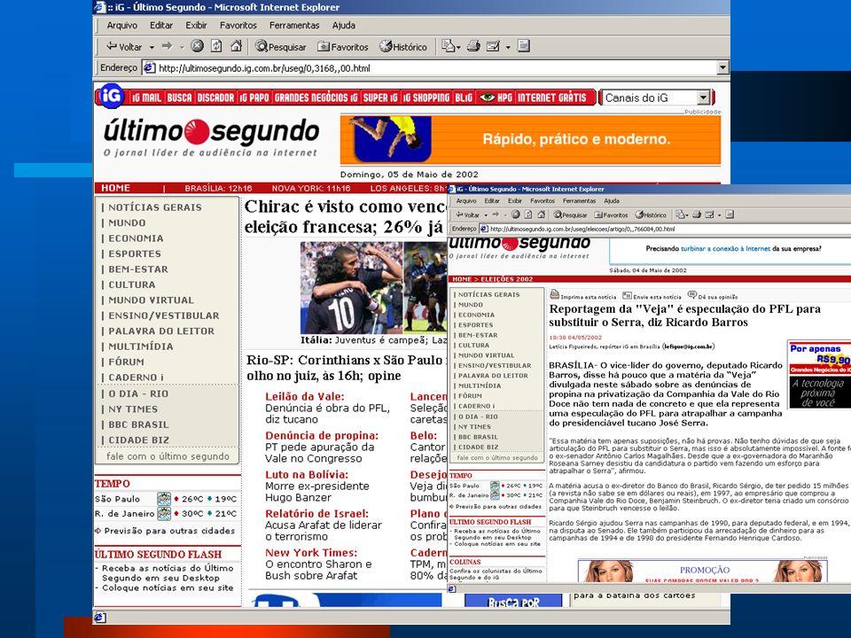 História Jornalismo On-line no Brasil Em 1996, o Universo On-line lançou o Brasil Online, primeiro jornal estruturado com redação própria para a versã