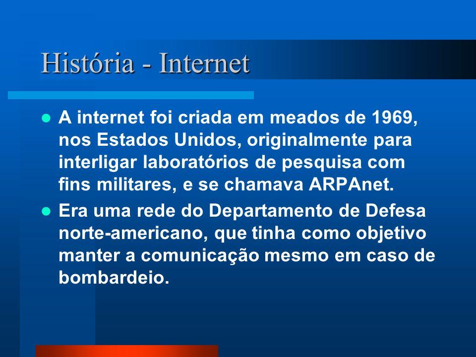 História - Internet A internet foi criada em meados de 1969, nos Estados Unidos, originalmente para interligar laboratórios de pesquisa com fins militares, e se chamava ARPAnet.