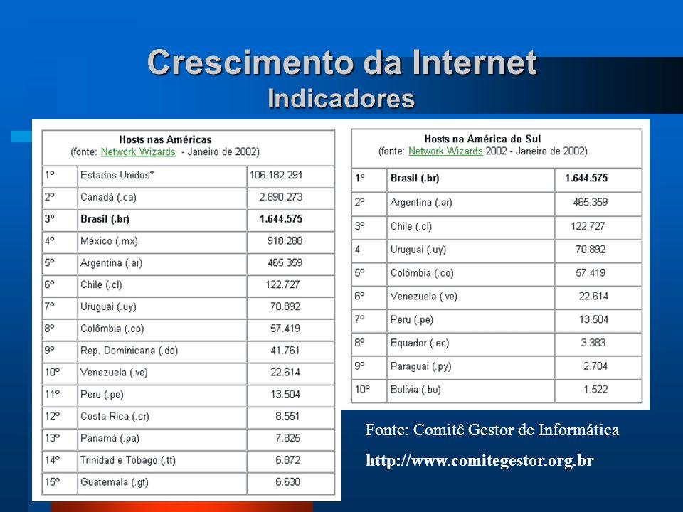 Crescimento da Internet Indicadores Fonte: Comitê Gestor de Informática http://www.comitegestor.org.br Posição em 1999: 14 o - com 215.086 host