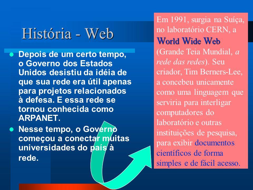 História - Web W orld W ide W eb Em 1991, surgia na Suíça, no laboratório CERN, a W orld W ide W eb (Grande Teia Mundial, a rede das redes).
