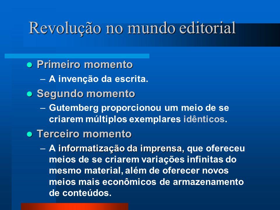 Revolução no mundo editorial Primeiro momento Primeiro momento –A invenção da escrita.