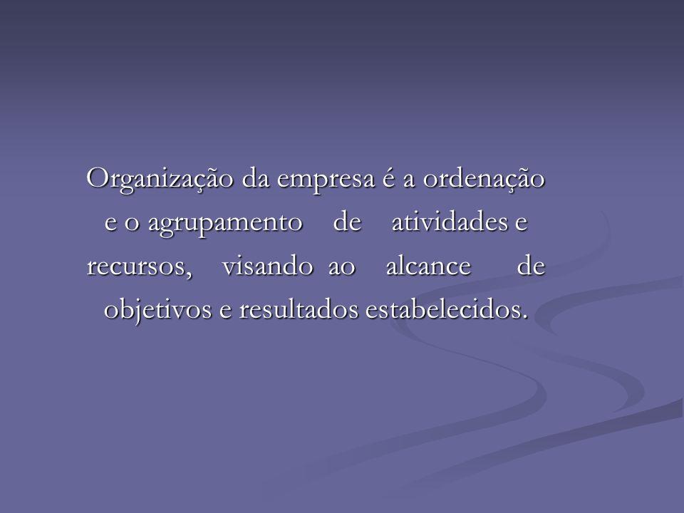 Organização da empresa é a ordenação Organização da empresa é a ordenação e o agrupamento de atividades e e o agrupamento de atividades e recursos, vi