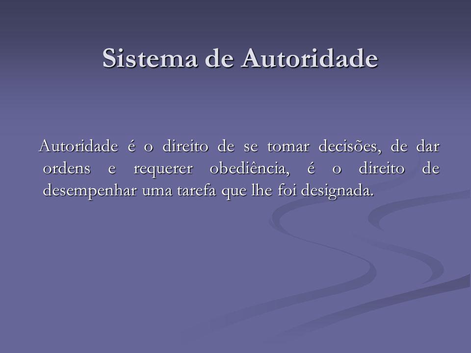 Sistema de Autoridade Autoridade é o direito de se tomar decisões, de dar ordens e requerer obediência, é o direito de desempenhar uma tarefa que lhe