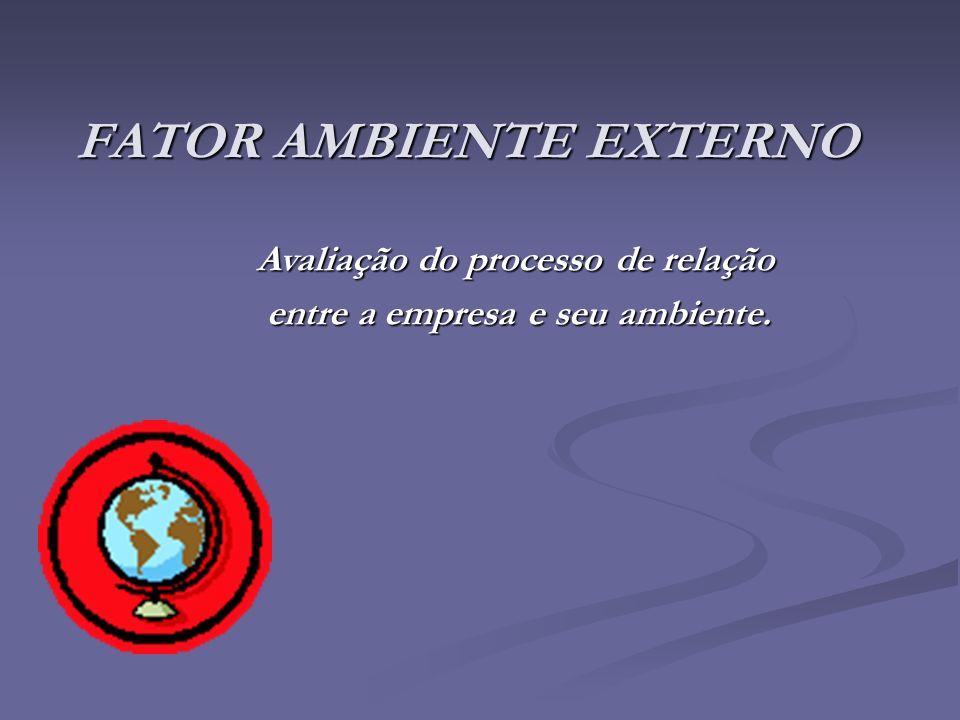 FATOR AMBIENTE EXTERNO Avaliação do processo de relação entre a empresa e seu ambiente. entre a empresa e seu ambiente.