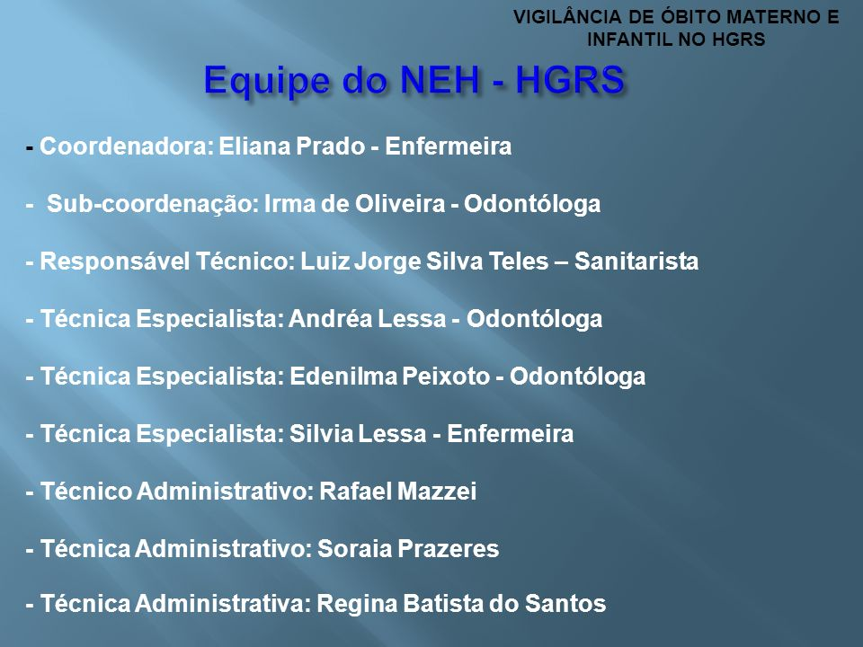 - Coordenadora: Eliana Prado - Enfermeira - Sub-coordenação: Irma de Oliveira - Odontóloga - Responsável Técnico: Luiz Jorge Silva Teles – Sanitarista