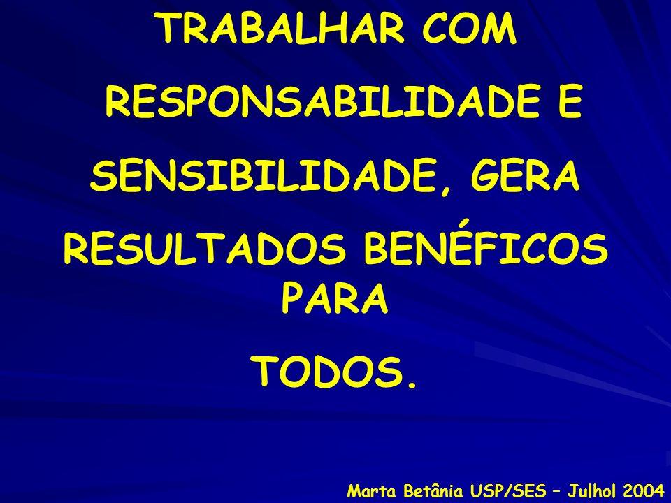 TRABALHAR COM RESPONSABILIDADE E SENSIBILIDADE, GERA RESULTADOS BENÉFICOS PARA TODOS. Marta Betânia USP/SES – Julhol 2004