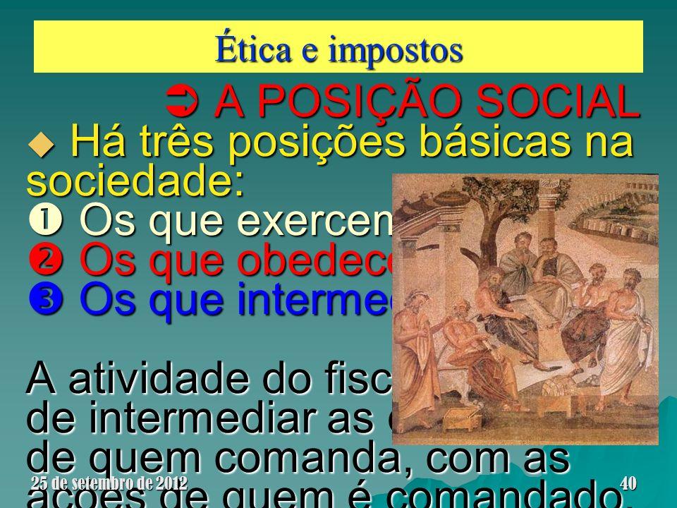 Ética e impostos A POSIÇÃO SOCIAL A POSIÇÃO SOCIAL Há três posições básicas na sociedade: Há três posições básicas na sociedade: Os que exercem o pode