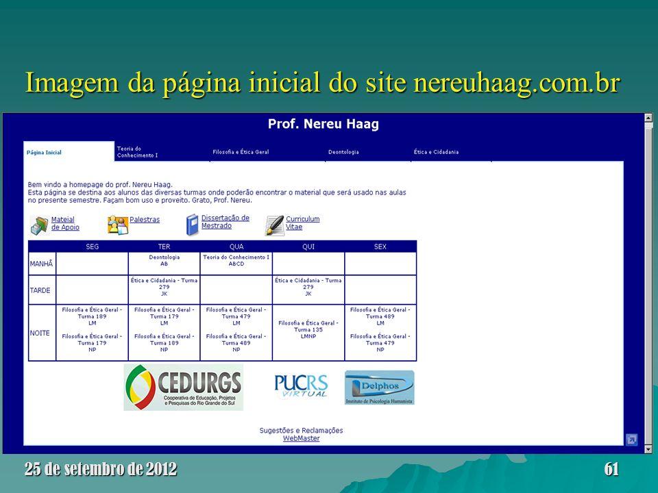 Imagem da página inicial do site nereuhaag.com.br 25 de setembro de 201261