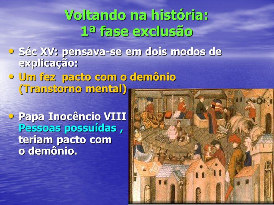 Voltando na história: 1ª fase exclusão Séc XV: pensava-se em dois modos de explicação: Séc XV: pensava-se em dois modos de explicação: Um fez pacto co
