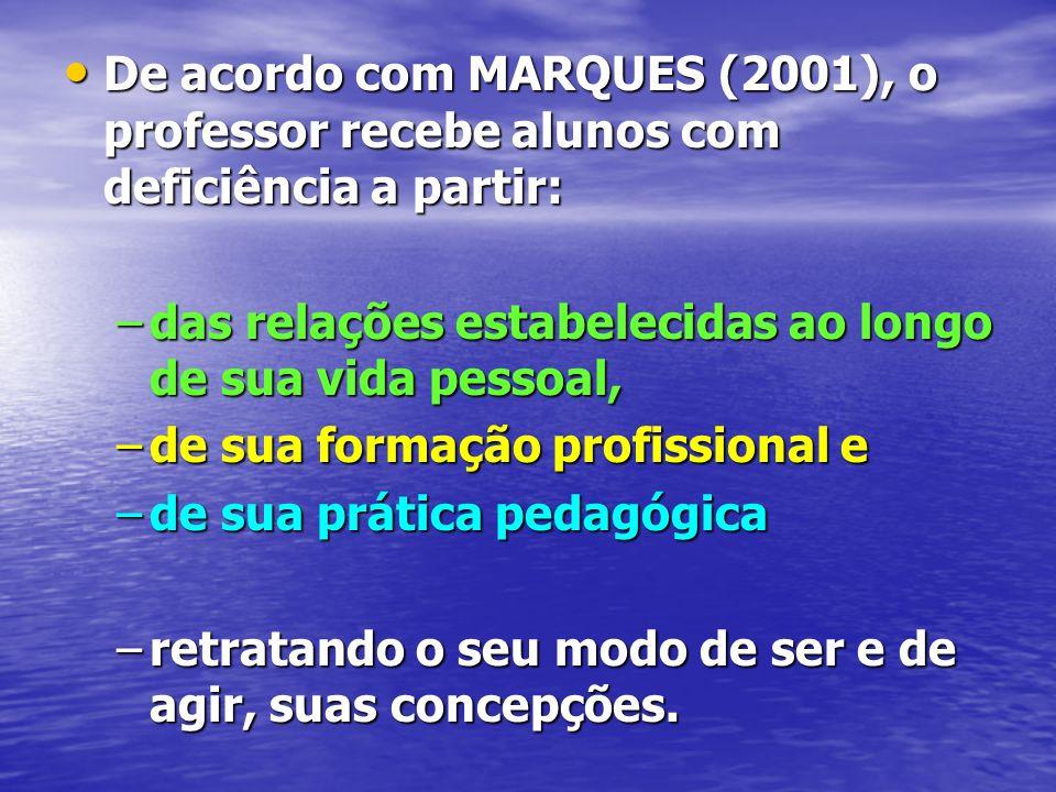 De acordo com MARQUES (2001), o professor recebe alunos com deficiência a partir: De acordo com MARQUES (2001), o professor recebe alunos com deficiên