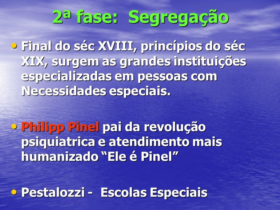 2ª fase: Segregação Final do séc XVIII, princípios do séc XIX, surgem as grandes instituições especializadas em pessoas com Necessidades especiais. Fi